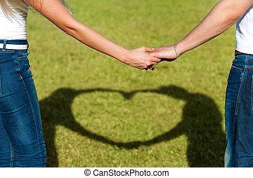 liefde, teken., op, samen, stellen, handen, afsluiten