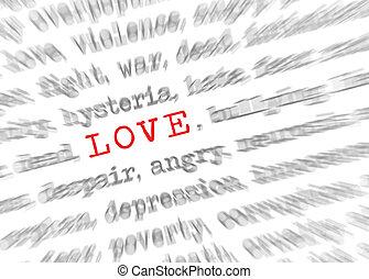 liefde, tekst, effect, brandpunt, blured, zoom