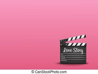 liefde, tekst, sinaasappel, vector, achtergrond., verhaal, clapperboard