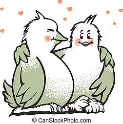 liefde, twee vogels