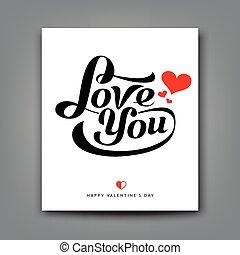 liefde, u, papier, boodschap, valentijn, witte , dag, vrolijke