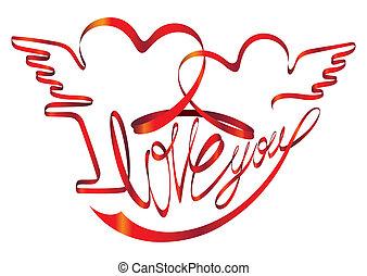 liefde, valentine, -, band, u, dag