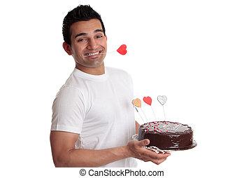 liefde, vasthouden, chocolade, heerlijk, taart, hartjes, verfraaide, man