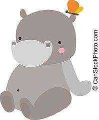 liefde, vector, achtergrond., illustratie, nijlpaard, witte