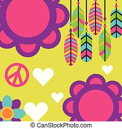 liefde, veertjes, kosteloos, boho, retro, hartjes, bloemen, geest