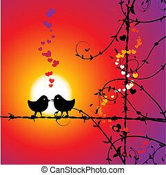 liefde, vogels, tak, kussende