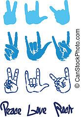 liefde, vrede, hand, rots, logo, meldingsbord