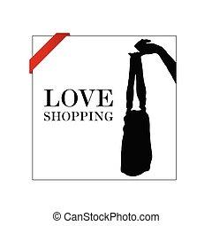liefde, witte , shoppen , illustratie, pictogram