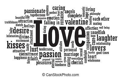 liefde, woord, wolk, illustratie