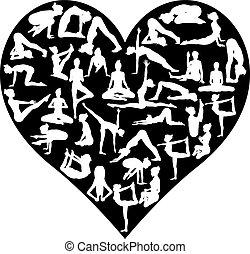 liefde, yoga, maniertjes, silhouettes, hart