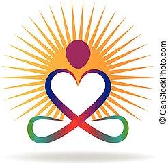 liefde, zon, logo, yoga, vorm