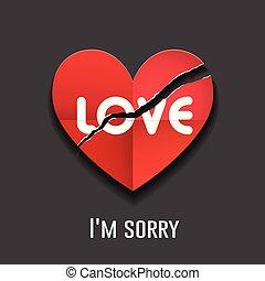 liefdehart, valentine, traan, papier, vector, boodschap, dag, rood, vrolijke