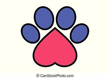 liefdesamenvatting, dog, huisdieren, voet, logo, pictogram