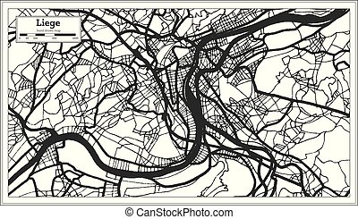 Liege Belgium City Map in Black and White Color. Outline Map...