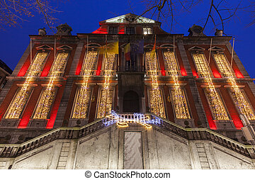 Liege city hall at night