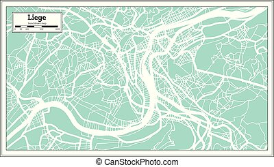 Liege City Map in Retro Style. Outline Map. Vector ...