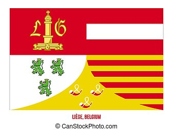 Liege Flag Vector Illustration on White Background. Provinces Flags of Belgium.