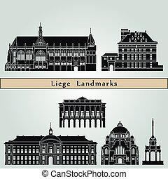 Liege Landmarks - Liege landmarks and monuments isolated on ...