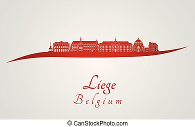 Liege skyline in red and gray background in editable vector ...
