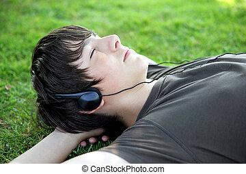 liegen, gras, musik, teenager, zuhören
