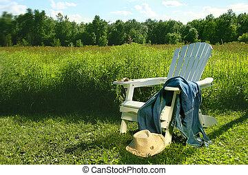 liegende , stuhl, jeans, adirondack, feld
