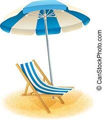 Liegestuhl mit sonnenschirm strand  Liegestuhl, weißer strand, schirm, inventar. Schirm, liegestuhl ...