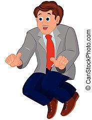 lien bleu, homme, dessin animé, pantalon rouge