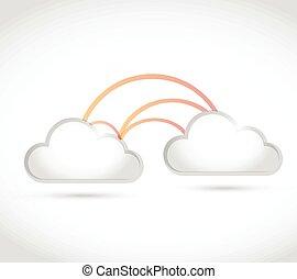 lien, réseau, nuage, calculer