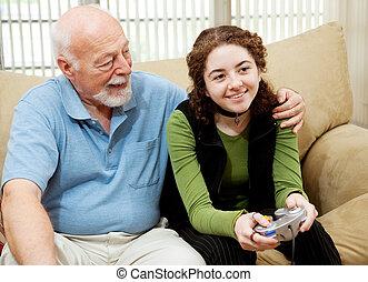 liens, adolescent, papy