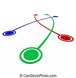 liens, association, -, connexions, entre, cibles
