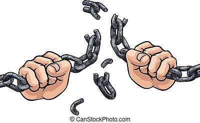 liens, conception, chaîne, liberté, rupture, mains
