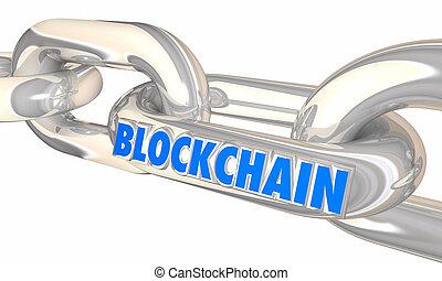liens, transactions, blockchain, illustration, sécurité,...