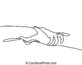 lier, dessin, continu, ligne, mains