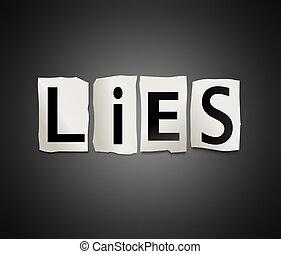 Lies concept. - Illustration depicting cutout printed...