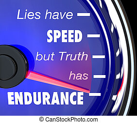 Lies Have Speed Truth Has Endurance Speedometer