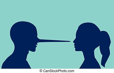 Vector of a woman looking at a lying man with a long nose.