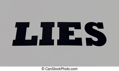 Lies Spelled Out on White Background Fade Out While Zooming In. Abstract Concept of Lying or Telling Lies. Opposite of Truth.
