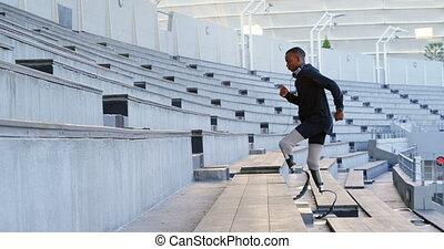 lieu, handicapé, athlétique, 4k, courant, sports