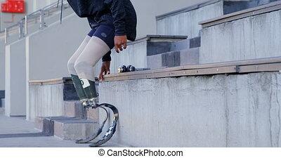 lieu, handicapé, ponçage, athlétique, 4k, sports