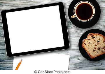 lieu travail, à, tablette numérique, cahier, gâteau, et, tasse à café