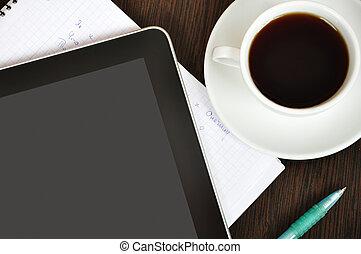 lieu travail, à, tablette numérique