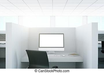 lieu travail, à, vide, pc, écran