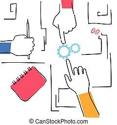 lieu travail, angle, woking, business, sommet, bureau, ensemble, plan, mains, confection, équipe, vue
