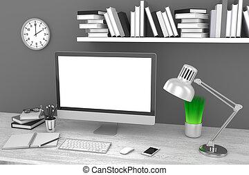 lieu travail, bureau, 3d