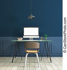 lieu travail, dans, moderne, bleu, intérieur