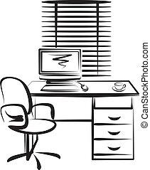 lieu travail, illustration, bureau