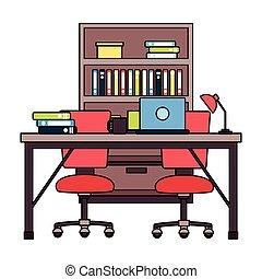 lieu travail, meubles bureau