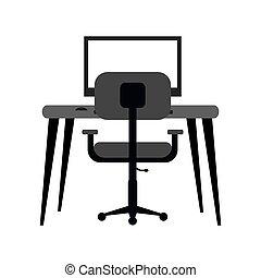 lieu travail, moderne, pc, fauteuil, bureau, monochromatique