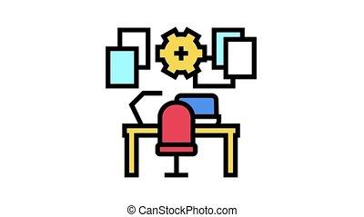 lieu travail, organisation, icône, animation, couleur