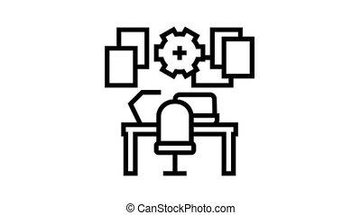 lieu travail, organisation, icône, animation, ligne